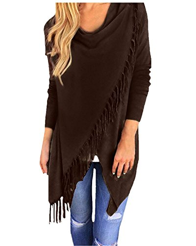 Neck Sweater Coat - Initial Women's Fringe Cardigan Crew Neck Tassels Slash Top Coat Outwear, Coffe, US XL