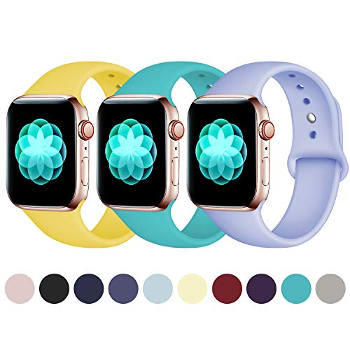 ilopee [3 Pack Sport Band Compatible with Apple Watch 38mm 40mm, Waterproof Replacement Strap for iWatch Series 4 3 2 1 for Women Men, Bright Yellow/Teal/Violet, M/L
