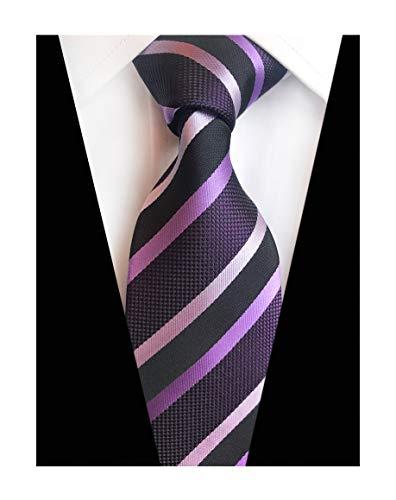 Mens Repp Purple Silk Ties Fine Stripe Woven Working Summer Suit Dance Neckties
