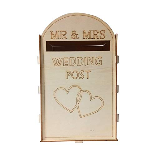 (Wedding Post Box, Royal Mail Styled, Flat Pack, Unpainted MDF for Cards etc,Mr and Mrs Mail Slot Wedding Card Box)