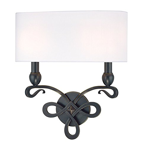 Antique White Two Arm Sconce - Pawling 2-Light Wall Sconce - Old Bronze Finish with White Faux Silk Shade