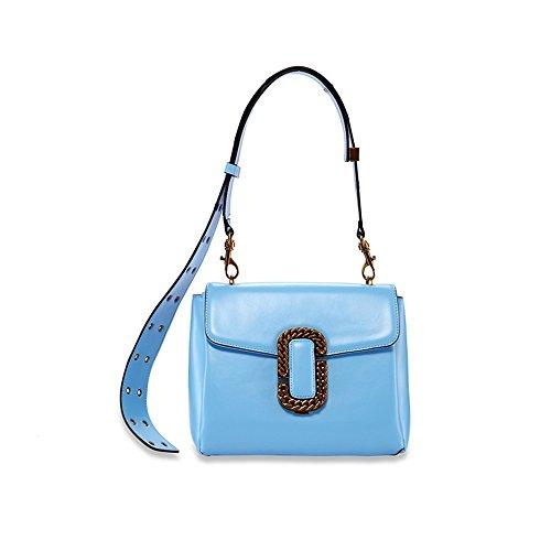 Azul Bolsa Pequeña Del 10 De De Correa Xddb 18cm Mensajero Hombro 24 Ancho De Cuero XwqRP4nxY4
