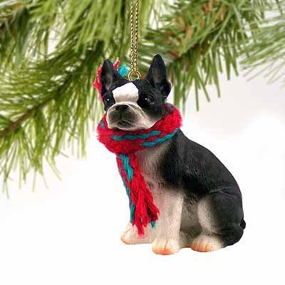 Ornament Christmas Terrier Boston - 1 X Boston Terrier Miniature Dog Ornament