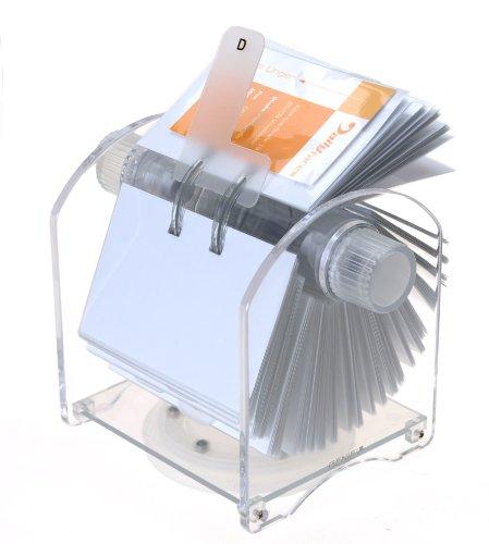 Genie Rotator Rotationskartei (400 Visitenkarten, 24-teiliges Register, 200 transparente Hüllen, aus hochwertigem Acryl, drehbarer Karteikasten)