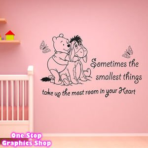 1stop Graphics Shop Winnie The Pooh Wall Art Quote Sticker Girl Boy Kids Nursery Love Decal Colour Black Size Large