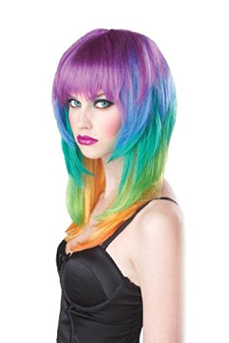 Fancy Kaleidescope Rainbow Girls Gone Wild Adult Costume Wig (Judge Robes Costume)