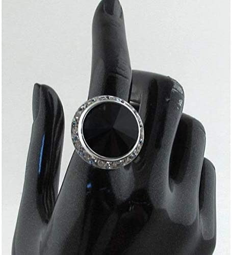 Silver//Black My Style New Circle Rhinestone Adjustable Ring 2 Colors