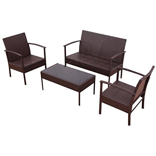 Rattan Patio Loveseat Sofa Wicker Furniture (Monarch Set Loveseat)