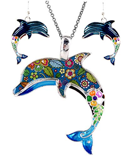 DianaL Boutique Silver Tone Dolphin Pendant Necklace and Earring Set with 24