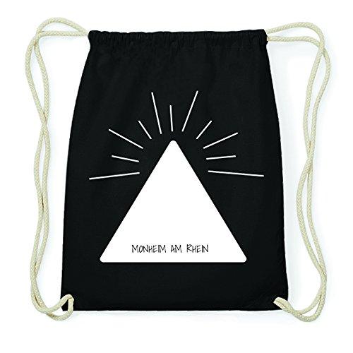 JOllify MONHEIM AM RHEIN Hipster Turnbeutel Tasche Rucksack aus Baumwolle - Farbe: schwarz Design: Pyramide Dv7gK