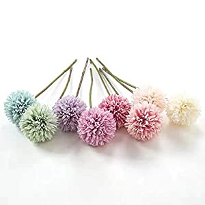Jasion 10pcs Artificial Chrysanthemum Ball Flowers Bouquet for Present Home Office Coffee House Parties and Wedding Decoration (Light Green) 4