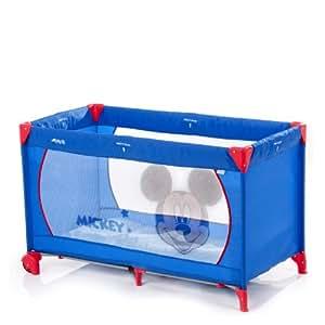 Hauck 601129 Dream'n Play Go - Cuna de viaje, parque de juegos con diseño de Mickey Mouse (60 x 120 cm, 2 ruedas), color azul
