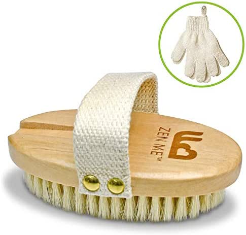 Premium Dry Brushing Body Brush for Glowing Tighter Skin and Better Circulation - Bonus Exfoliating Gloves to Easily Exfoliate in the Shower and Bath – For Rejuvenating Your Skin