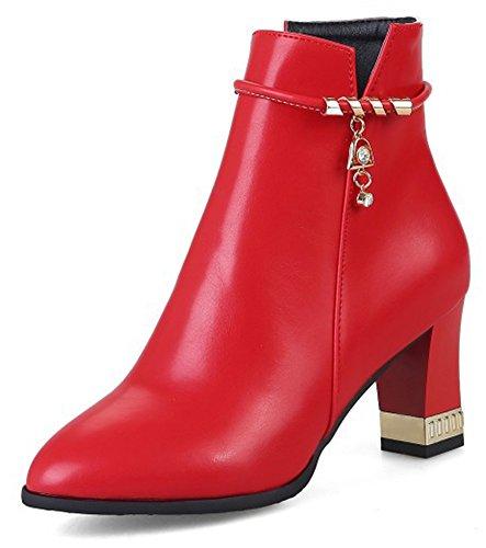 Idifu Kvinna Sexig Hängande Zip Upp Mitten Chunky Häl Fotled Tossor Röd