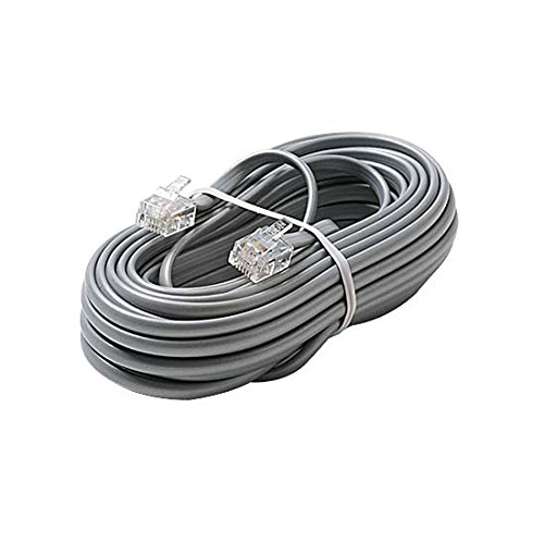 25' FT Phone Cord Silver Satin Line Modular RJ11 Male Flat Voice Telephone Cord 6P2C Jack Plugs Each End Modular Phone Connect RJ-11 Communication Wire Extension Cable with Snap-In Wall (Satin Rj11 Silver)