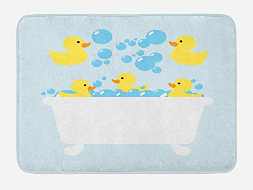 Lunarable Duckies Bath Mat, Yellow Rubber Poultry Toys Inside a Tub Abstract Cartoon Style Drawing with Bubbles, Plush Bathroom Decor Mat with Non Slip Backing, 29.5 W X 17.5 L Inches, Yellow Blue