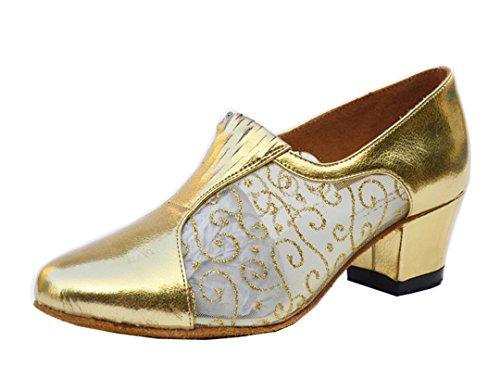 Tda Womens Appliques In Metallo Glitter Chiuso Toe Salsa Tango Da Ballo Latino Scarpe Da Ballo Moderno Oro