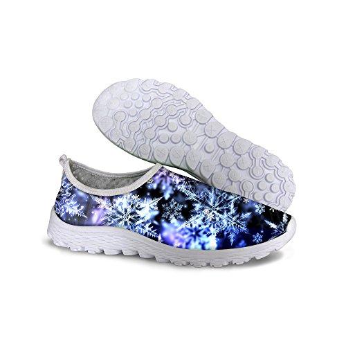 För U Designar Elegant Blom Galax Print Kvinna Avslappnad Mesh Andas Promenader Löparskor Blue 1