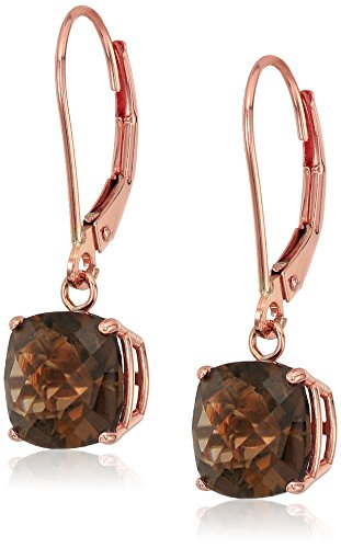 10k Rose Gold Cushion Checkerboard Cut Smokey Quartz Leverback Earrings (8mm) Cushion Cut Gemstone Leverback Earrings