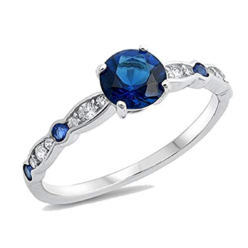 - Fancy Wedding Engagement Ring Round Simulated Blue Sapphire Cubic Zirconia 925 Sterling Silver, Size-5