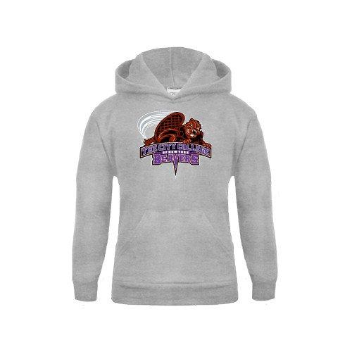 Youth Grey Fleece Hood CCNY Beavers
