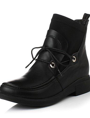 Botas Eu35 Semicuero A Brown Vestido Mujer Tacón us5 negro Uk3 Cn34 Elástico Robusto Zapatos De Satén Casual Punta Redonda us5 La Black Moda Xzz TFqZ08HwcP