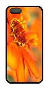 iPhone 5S Customized Unique Orange Flower Macro 3 New Fashion TPU Black iPhone 5/5S Cases - Scenery Flowers