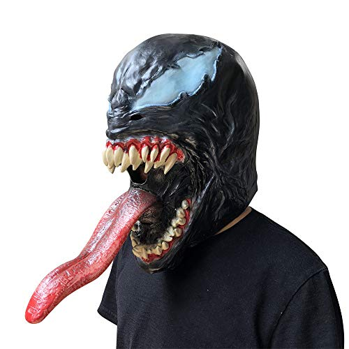 (123Loop Halloween Prop Scary Mask Toy, Cosplay Venom Mask Melting Face Latex Costume Halloween Prop Scary Mask Toy)