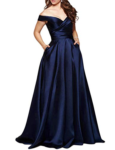 Scarisee Women's Long Off-The-Shoulder Prom Evening Dresses with Pockets Formal A-line Wedding Party Bridesmaid Gowns Navy Blue 20 Plus