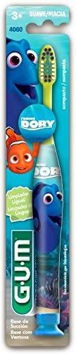 Escova Dental Infantil GUM Procurando Dory, com cerdas macias e limpador de língua, Gum, Sortidas