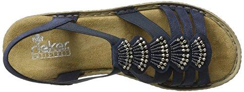 Rieker 65869, Sandalias con Cuña para Mujer Azul (Baltik / 14)