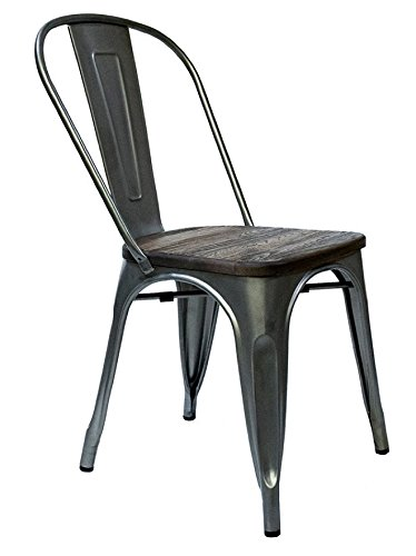 Steampunk Tolix Replica Metal Chairs And Barstools (Set Of 2) (Gunmetal/Wood