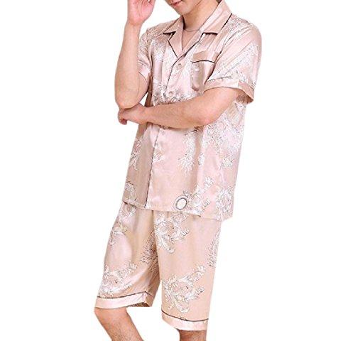 (GodeyesMen Godeyes Mens Dragon 2Pcs Modern Printed Novelty Charmeuse Pajama Sleepwear Set Champagne L)