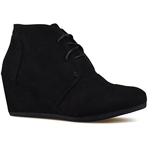 Casual Low Heel Premier Fashion Standard Booties Black Shoes Wedge Outdoor HUYHIEnp