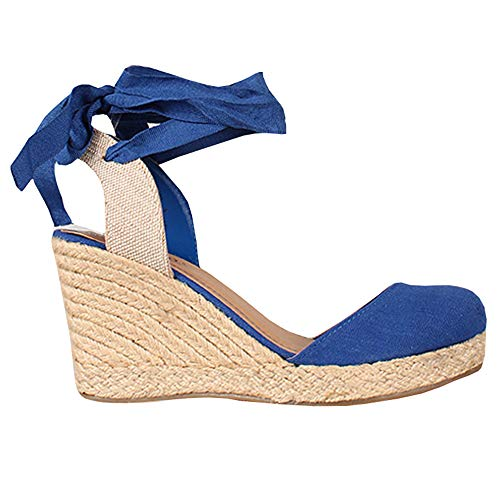 Womens Espadrille Wedge Sandals Closed Toe Platform Lace Up Ankle Wrap Slingback Sandals (Wrap Around Ankle Strap)
