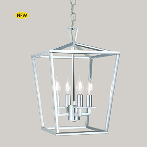 NORWELL 1080-PN-NG Four Light Pendant Transitional Cage Collection in Chrome, Pol. Nckl.Finish, 18.00 Inches