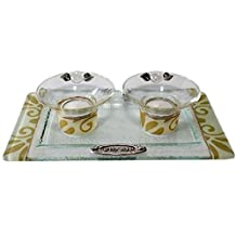 """5th Avenue Collection Candle Stick With Tea Light Applique - Pearl/Gold - Tray 11"""" W X 6"""" L Candlesticks 2"""" H"""