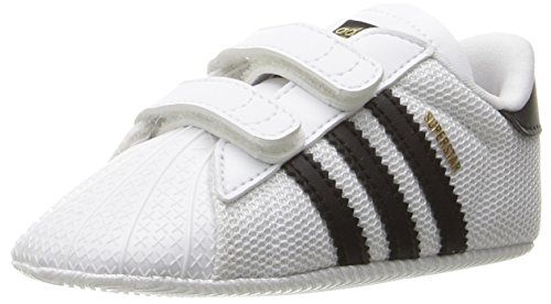 adidas Originals Baby Superstar Crib Running Shoe, White/Black/White, 1K M US Infant