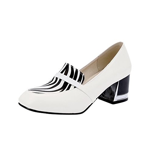 Charm Foot Womens Vintage Style Chunky Heel Pumps Shoes White QZVY8