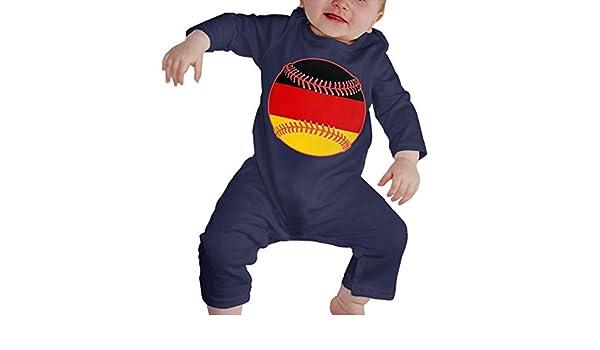 Mri-le1 Toddler Baby Boy Girl Long Sleeve Jumpsuit German Flag Baseball Clipart Infant Long Sleeve Romper Jumpsuit