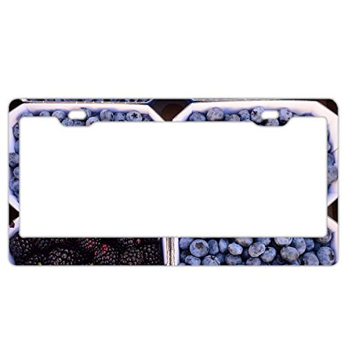 (fffvv Berries Blueberries Blackberries License Plate Frames Alumina Car Licence Plate Covers 2 Holes)