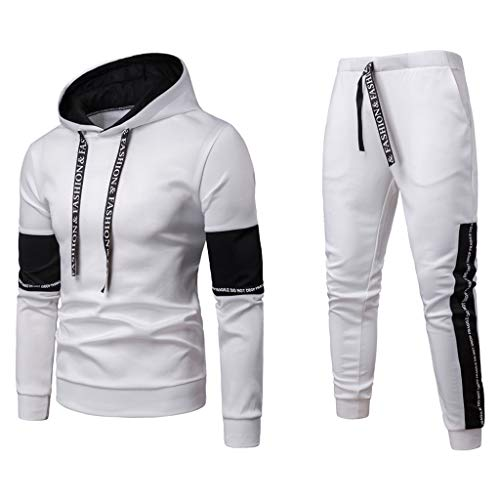 Ride Crew Sweater - Men's Sportswear Suit,AmyDong Long Sleeve Hooded Sweatshirt Patchwork Sweater Fashion Autumn Winter Top Pants Sets White