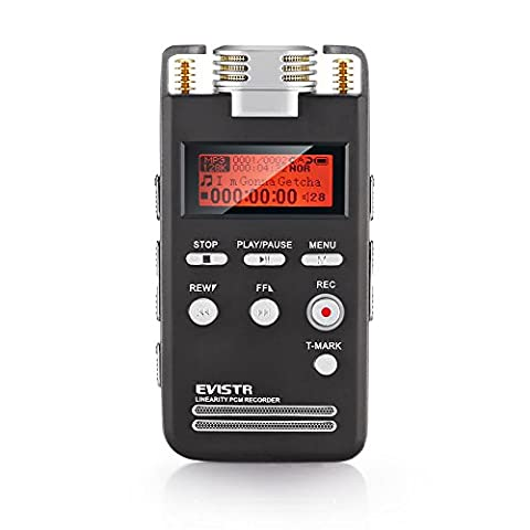 Voice Recorder 8GB Pro PCM 1536K Clear Stereo Audio by EVISTR, L53 Voice Activated Recorder Digital Dictaphone Portable Recording Device Double HD Adjustable Microphone, Noise (Microcassette Storage)