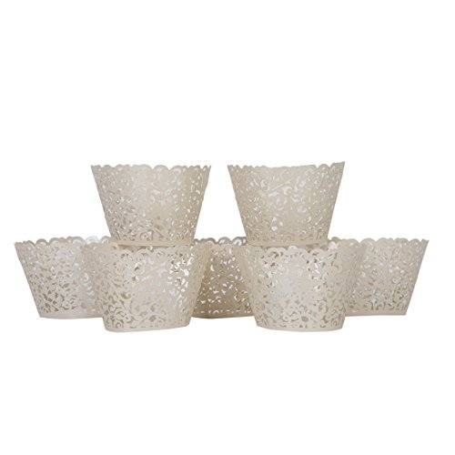 Andux 120pcs Filigree Cut Cupcake Wrapper Wraps Case Birthday Wedding Party Decor(Titanium white)-DGZB-01 -