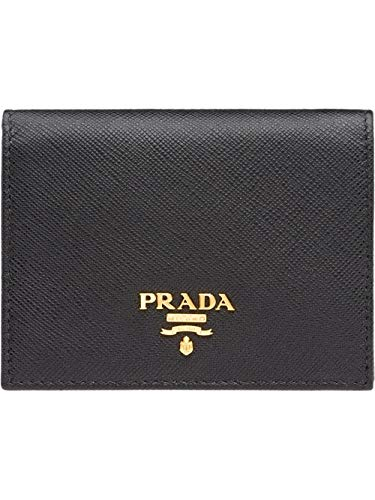 (Prada Women's 1Mv204qwaf0002 Black Leather Wallet)