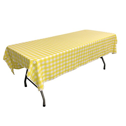 LA Linen Polyester Gingham Checkered 60 by 90-Inch Rectangular Tablecloth, White and Light Yellow ()