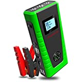 Portable Car Jump Starter 600A 12000mAh PUSHIDUN Auto Battery Booster Jumper Pack (Up to 5.0L Gas & 2.0L Diesel) External Power Bank with 2 Smart Charging Ports,Compass & LCD Screen