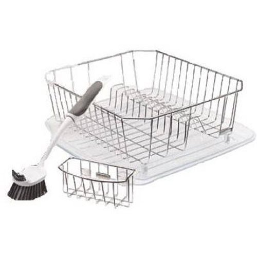 Rubbermaid Antimicrobial Sinkware Set, 4 Pieces, Chrome - Dish Rack Dry High And
