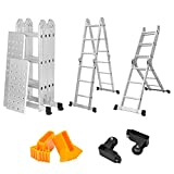 Finether Multi-Purpose Ladder Folding Ladder 12.1 FT Extendable Aluminium Step Ladder Platform Ladder Heavy Duty - Extendible and Versatile with 2 Panels│Safety Locking Hinge│2 Casters for Easy Transpotation│Unti-slip Rubber Feets│330 Lbs Capacity