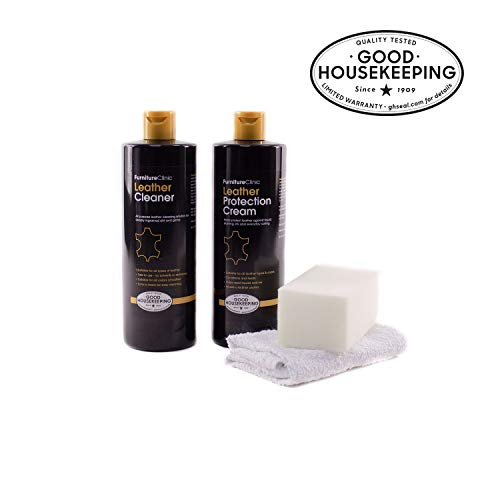 - Furniture Clinic Large Leather Care Kit - Includes a 17oz Protection Cream & Conditioner, 17oz Leather Cleaner, Sponge & Cloth | Condition & Protect Leather Furniture, Chairs, Car Seats